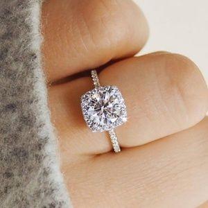 Diamond Cushion-Cut Crystal Engagement Ring
